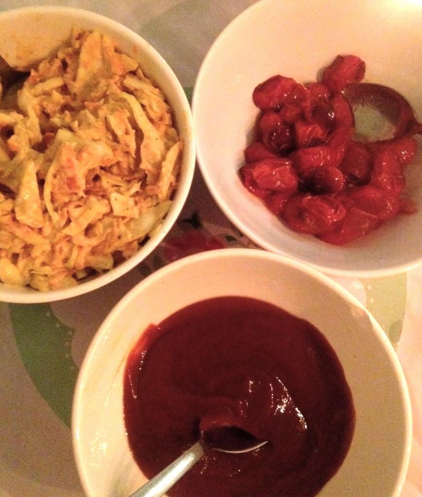 Charli's 'Slaw, Roasted Tomatoes & BBQ Sauce